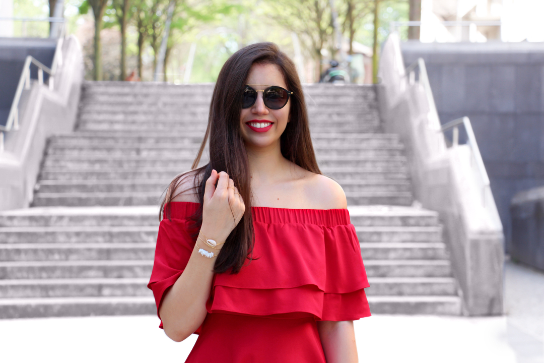 Robe Rouge Missguided Col Bardot Lenaelle
