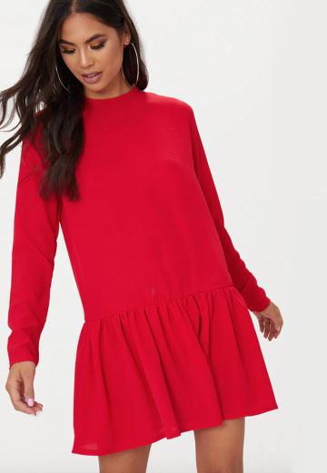 Robe Rouge Volant Manches Longues Lenaelle